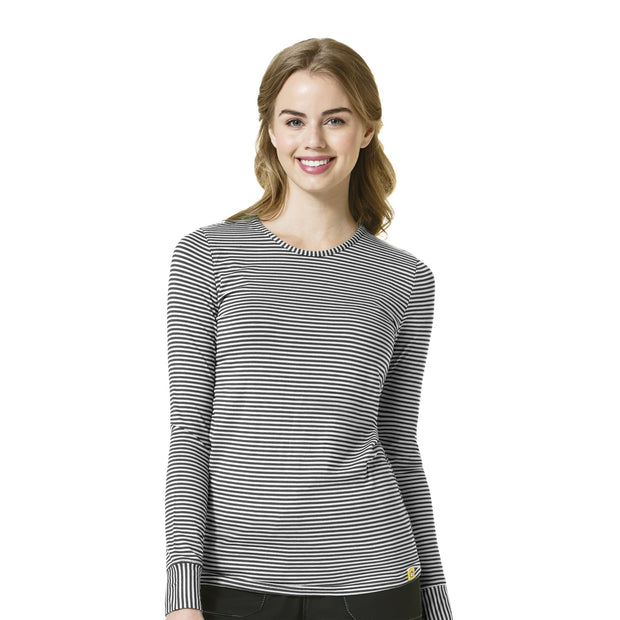 Wonderwink Long Sleeved Striped Tee