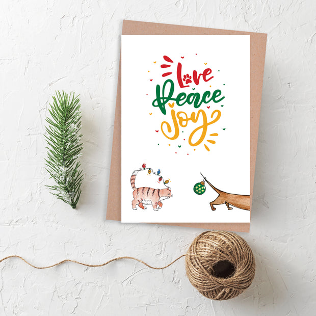 Blank Christmas Card - Love Peace Joy