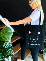 LIFE IS PURRRFECT -  COTTON SHOPPER BAG