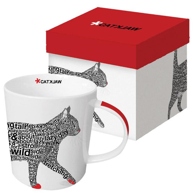 CAT WALK BONE CHINA MUG