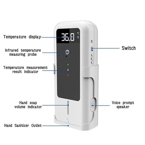 Automatic Temperature Measurement Induction and Hand Sanitizer Dispenser - Wicked Flex