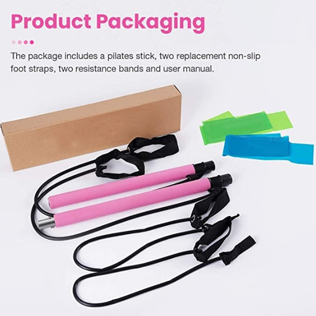 Portable Yoga Pilates Wand with Resistance Band - Wicked Flex
