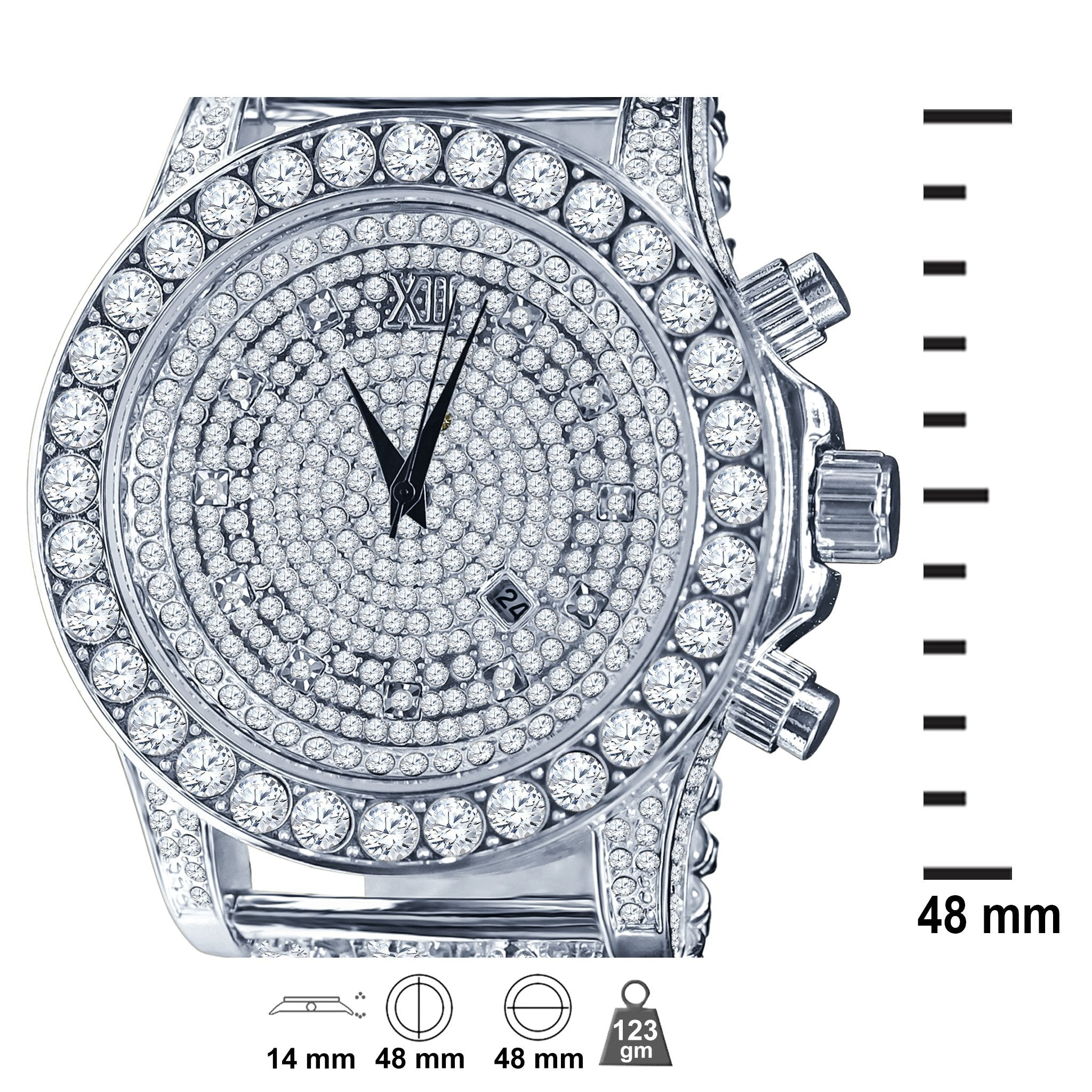 BURNISH CZ ICED OUT WATCH - 80% OFF