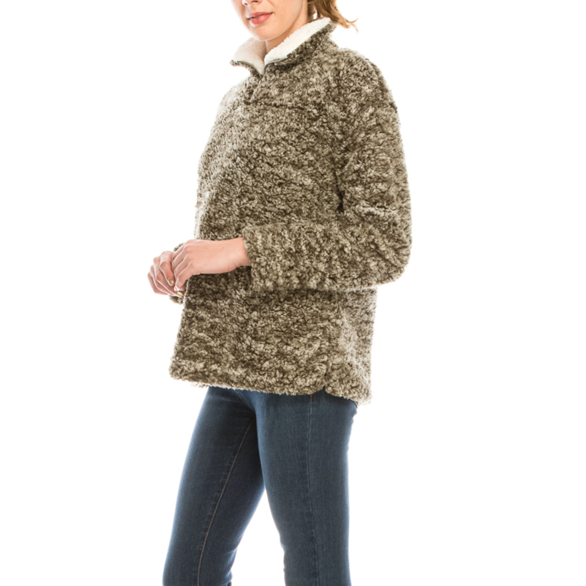 Urban Diction Olive Sherpa Pullover - 40% OFF