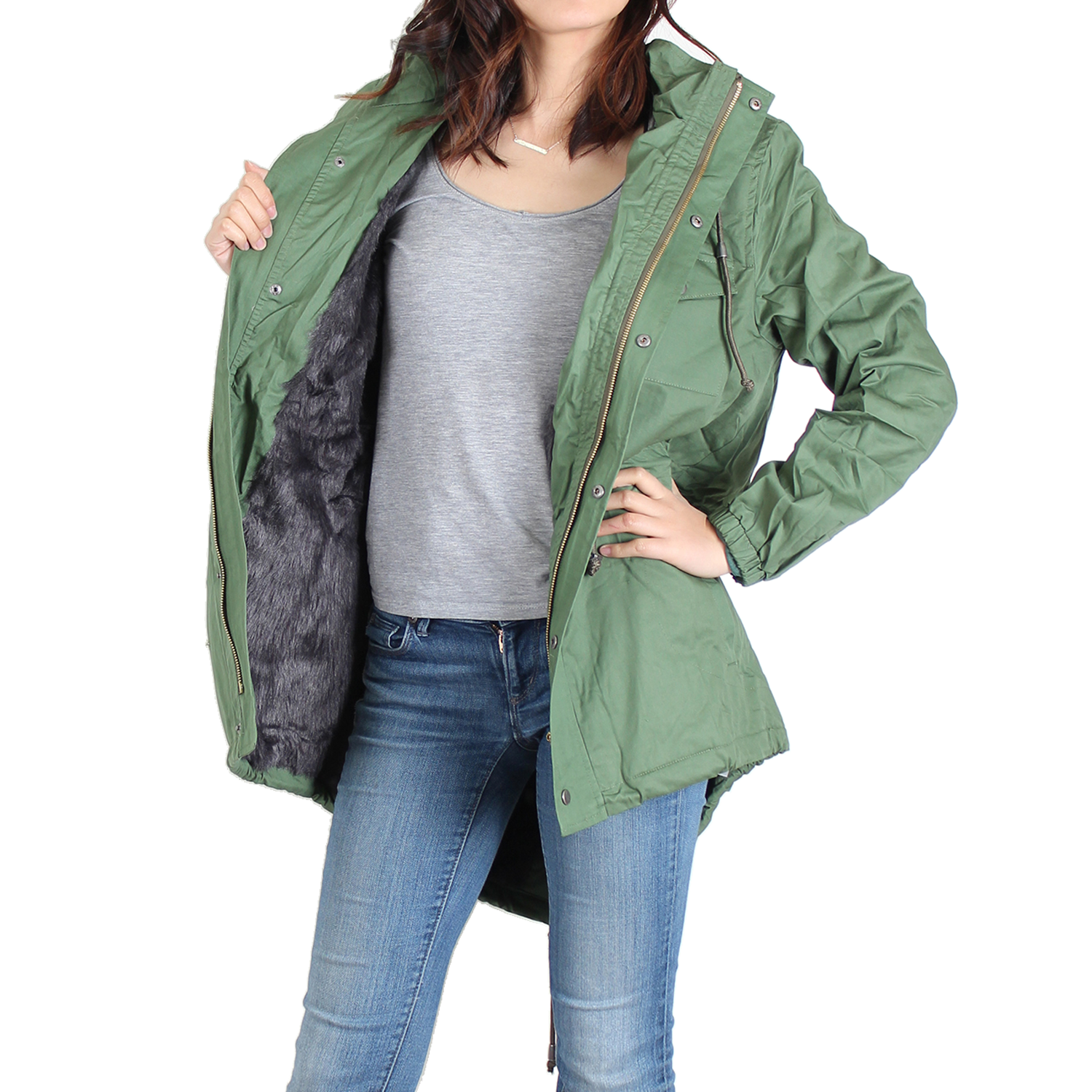 Hunter Green Faux-Fur Lined Anorak Jacket - 50% OFF