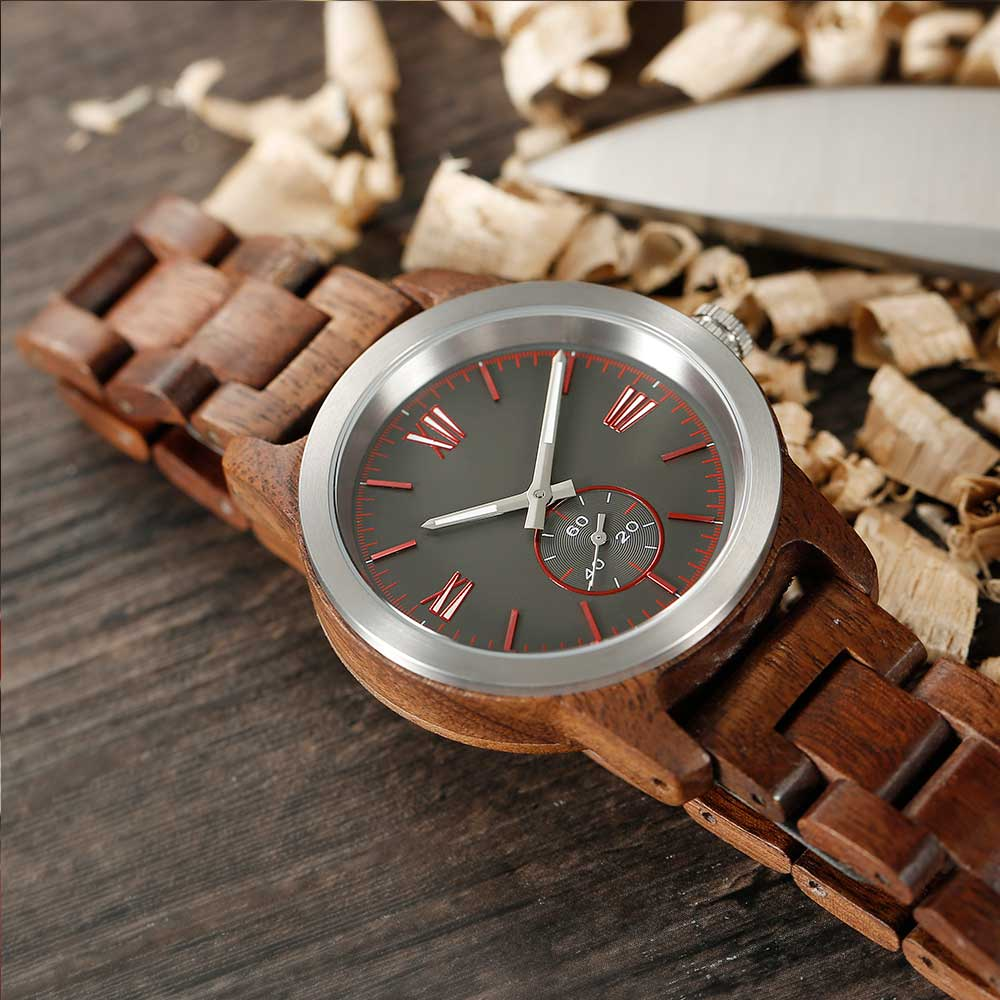Men's Handcrafted Engraving Walnut Wood Watch - 50% OFF
