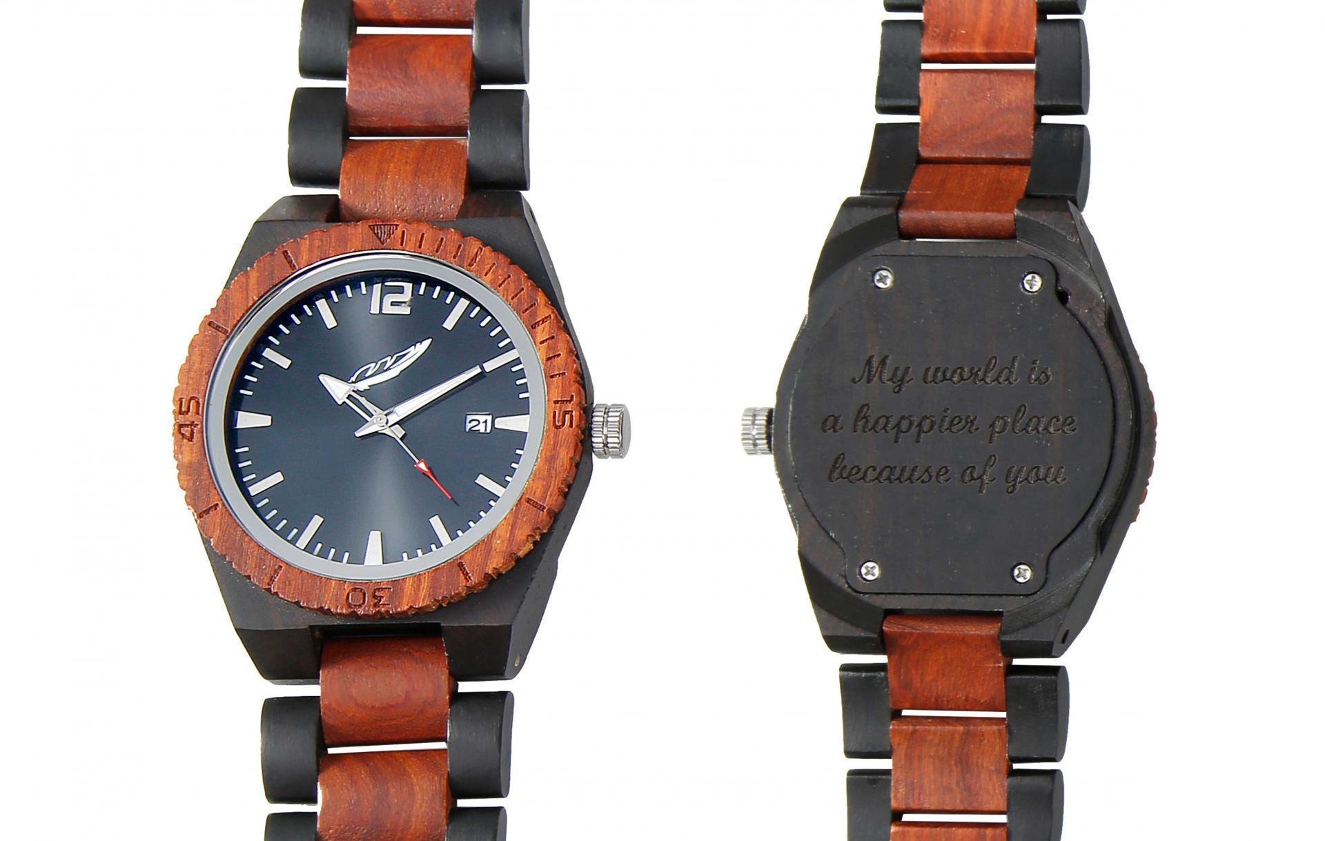 Men's Personalized Engrave Ebony & Rosewood Watch - 50% OFF