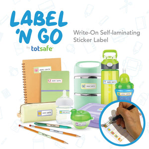 Totsafe Label N Go Write-On Self-Laminating Stickers - Animal Theme