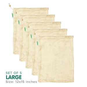 Zippies Cotton Mesh Produce Bags (Large) Pack of 5