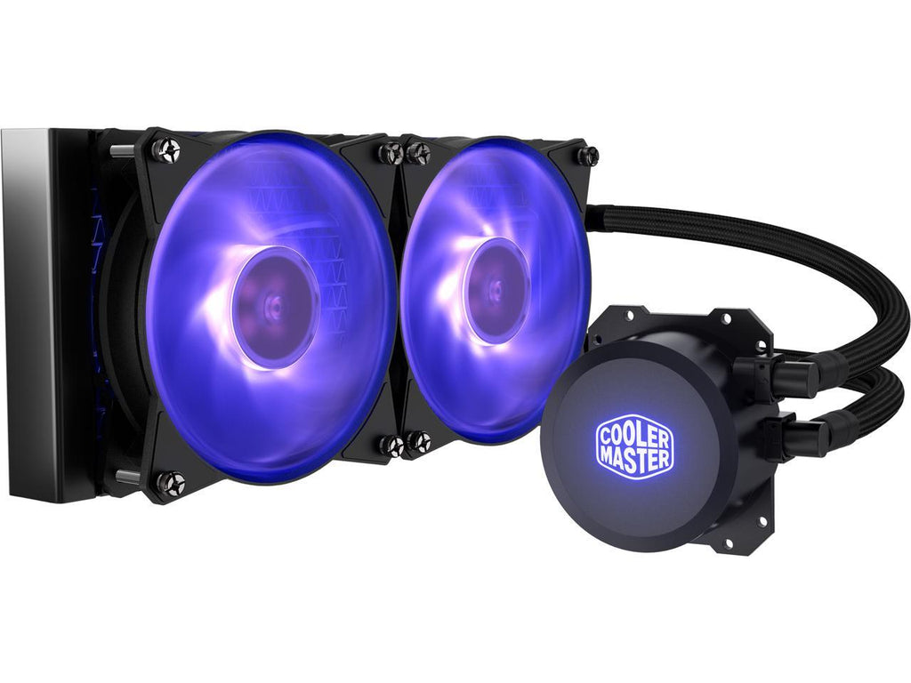Cooler Master MasterLiquid Lite ML240L RGB AIO CPU Liquid Cooler, Sleeved FEP Tubing, Dual 120mm RGB Air Balance MF, RGB Software compatible, Dual Dissipation Technology