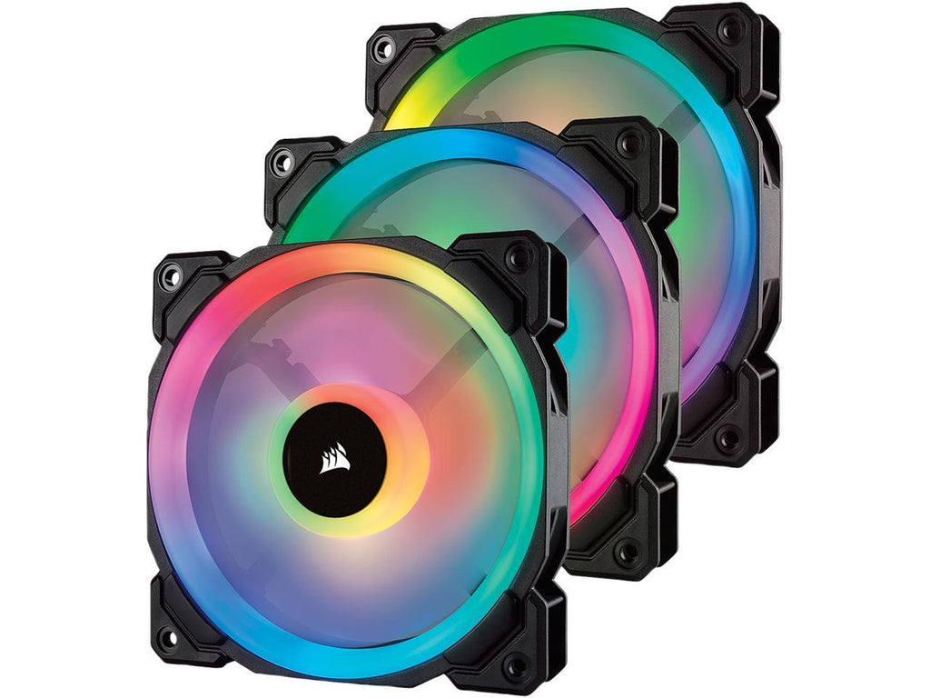 Corsair LL Series CO-9050072-WW LL120 RGB, 120mm Dual Light Loop RGB LED PWM Fan, 3 Fan Pack with Lighting Node PRO