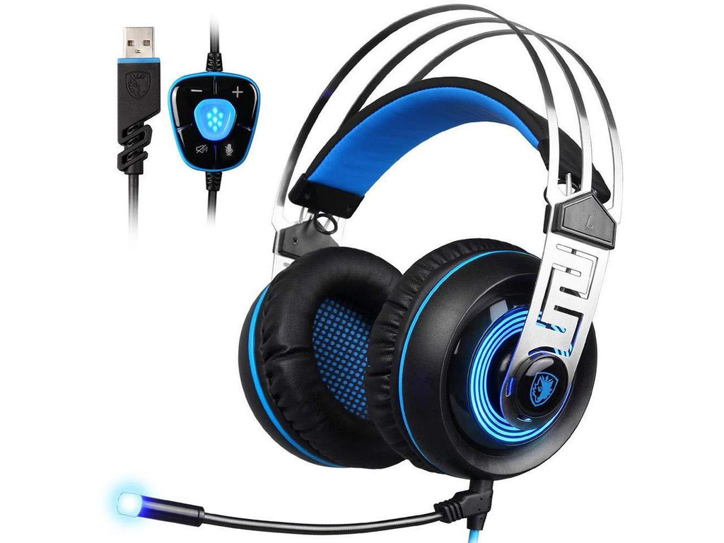 CHUSHENG USB 7.1 Stereo Gaming Headset, Head-Mounted Wired Earphones with Microphone, Wire-Controlled Volume, Metal Head Beam Frame is Light and Durable, Adaptable to Different Head Types