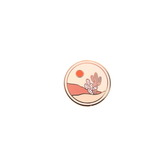 Peach Cactus Medallion Enamel Pin