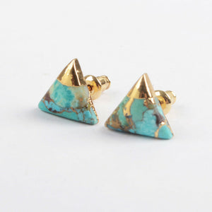 Turquoise Lace Triangle Studs