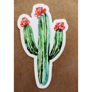 Green Saguaro Pink Puddle Sticker
