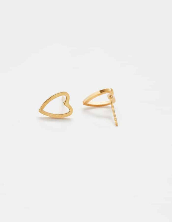 Gold Heart Outline Stud Earrings
