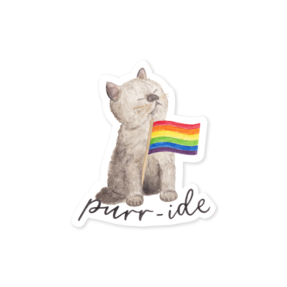 Rainbow Flag Purr-ide Sticker