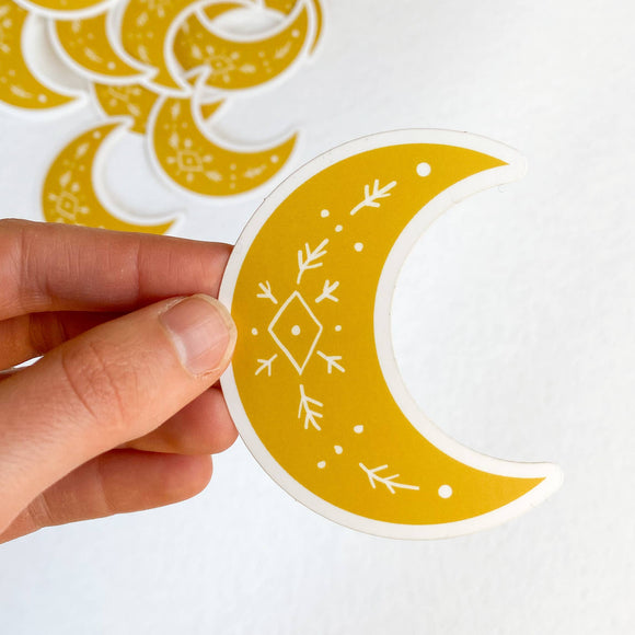 Golden Solstice Moon Sticker