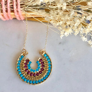 Desert Sunrise Medallion Necklace, Turquoise/Ruby