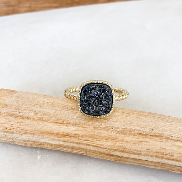Square Druzy Bezel Ring