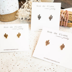 Saguaro Studs- Gold, Silver, or Rose Gold