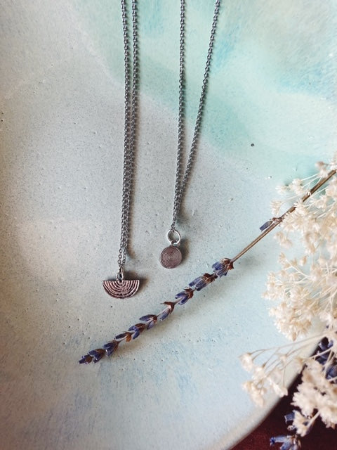 Simple Silver Textured Necklaces