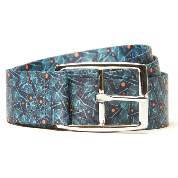 Blue Ginkgo Print - Hidden Flap Belt