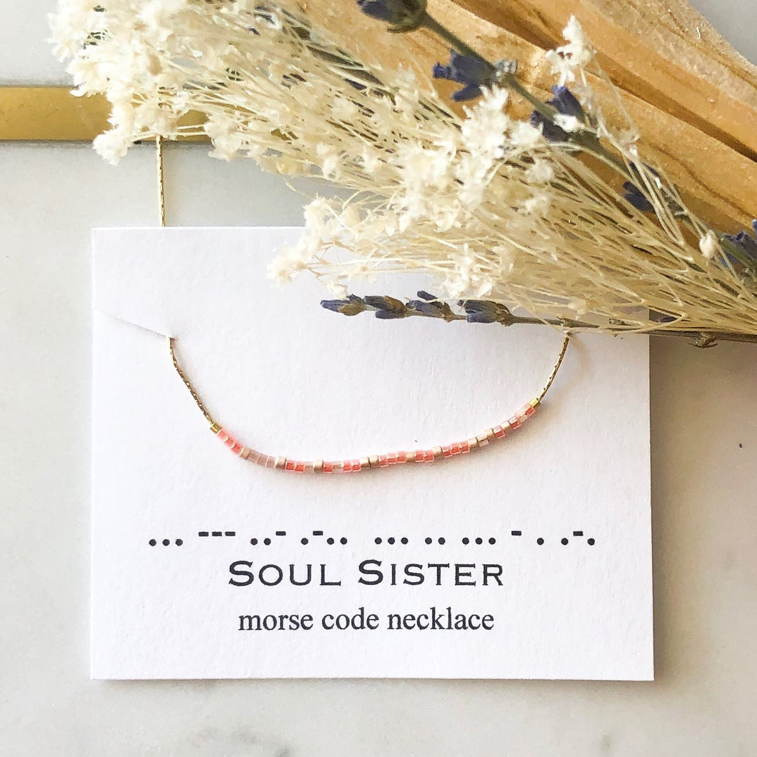 SOUL SISTER Morse Code Necklace