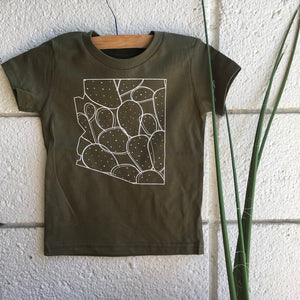 Paddle Cactus Toddler Tee- Army Green