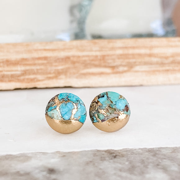 Round Copper Turquoise Lace Earrings