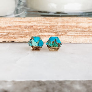Hex Copper Turquoise Lace Earrings