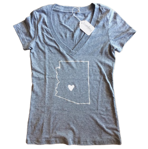 AZ Love Women's V-Neck Tee, Heather Grey