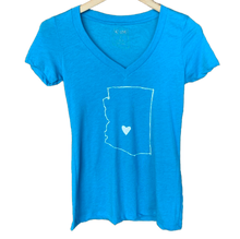 Load image into Gallery viewer, AZ Love Women's V-Neck Tee Adobe Blue