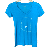 AZ Love Women's V-Neck Tee Adobe Blue