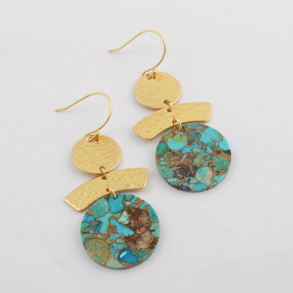Slice of Turquoise Geo Earrings