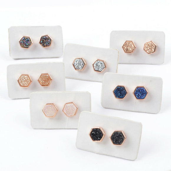 Little Hex Studs in Rose Gold