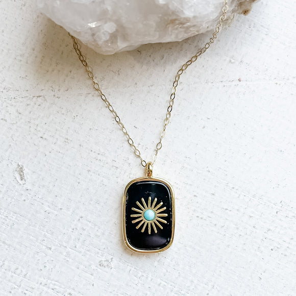 Onyx Sunburst Pendant Necklace