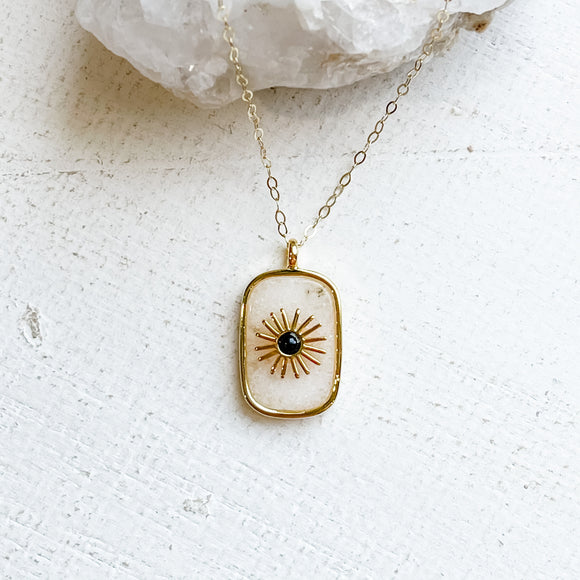 White Jade Sunburst Pendant Necklace