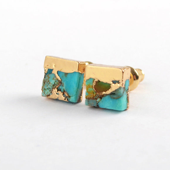 Square Copper Turquoise Lace Earrings