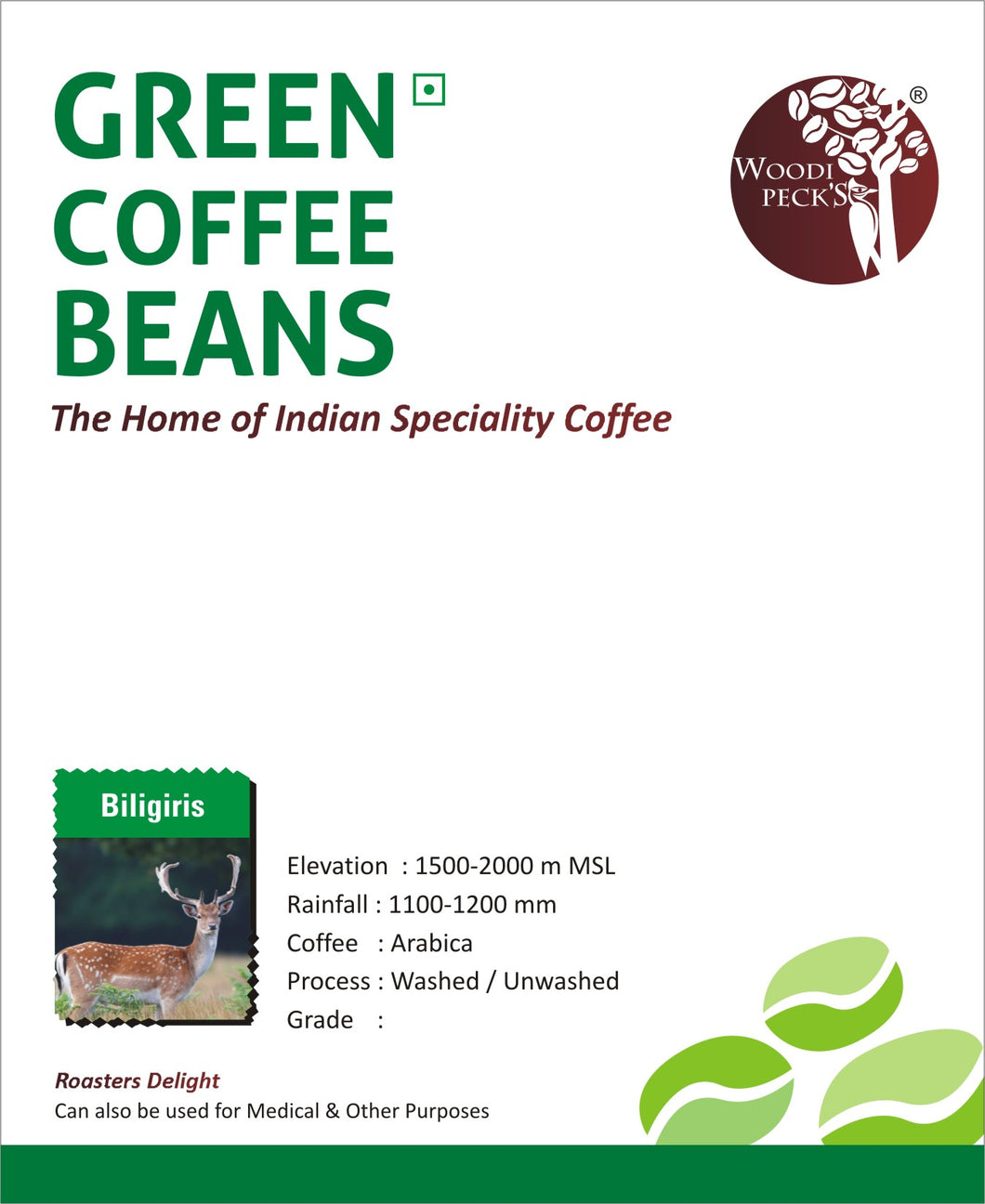 Woodi Peck's Biligiris Green Coffee Beans