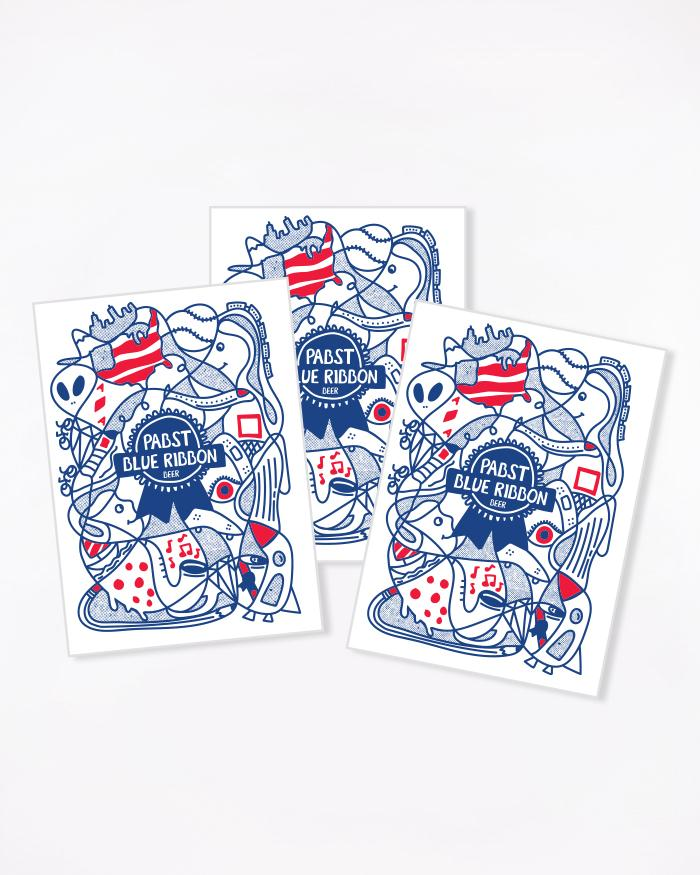 Art Can Kelly Postcards - Pabst Blue Ribbon Store