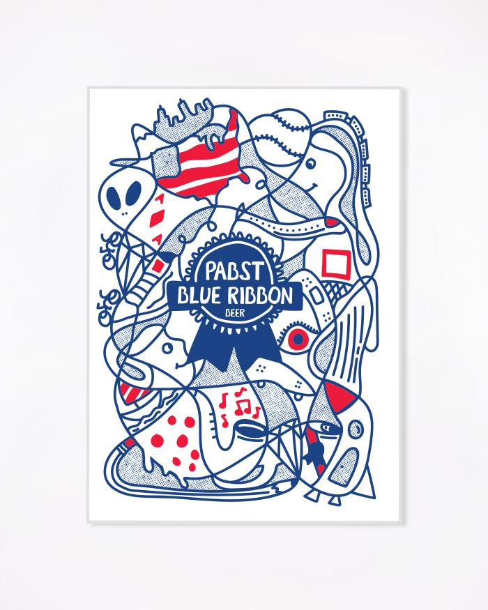 Art Can Kelly Poster - Pabst Blue Ribbon Store