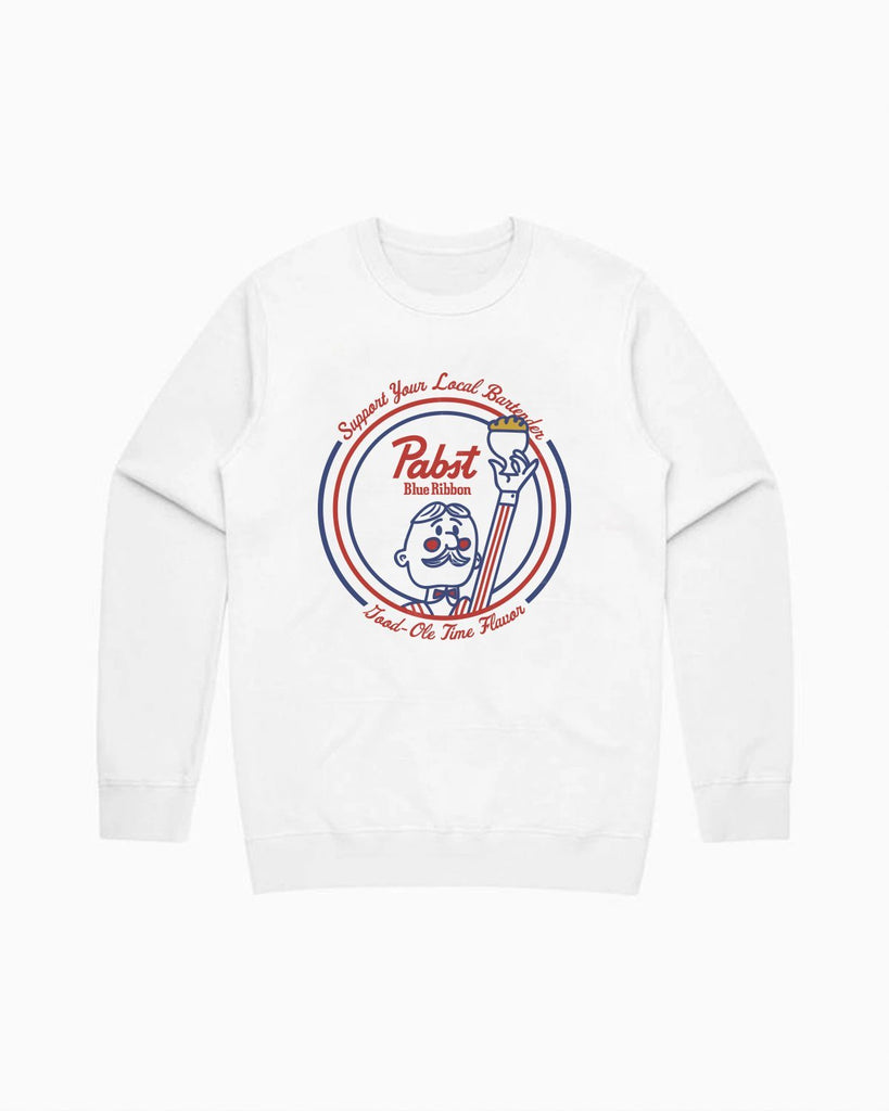 Bartender Salute To Flavor Crewneck- White