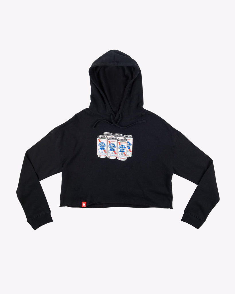 Women's Can Cropped Hoodie - Pabst Blue Ribbon Store