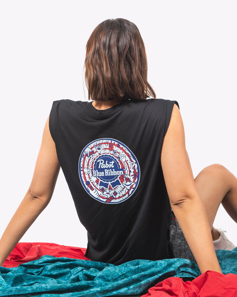 Pizza.Party.Pabst.Repeat Womens Cuffed Tee