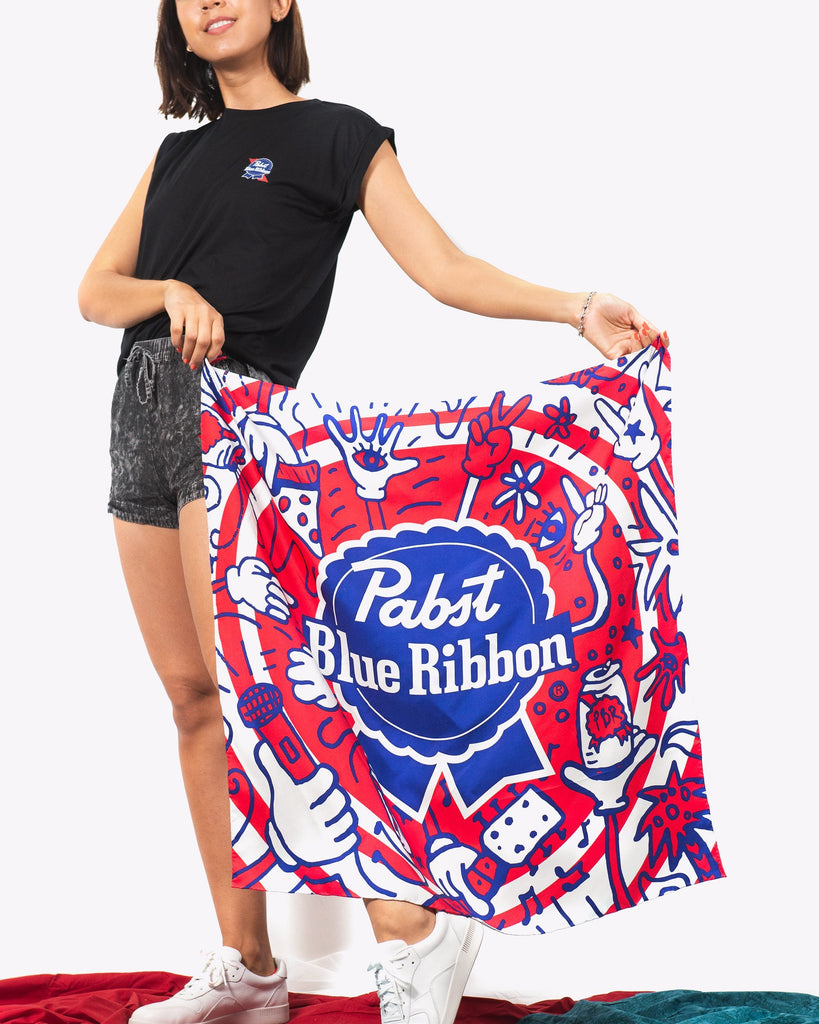 Pizza.Party.Pabst.Repeat Silk Scarf