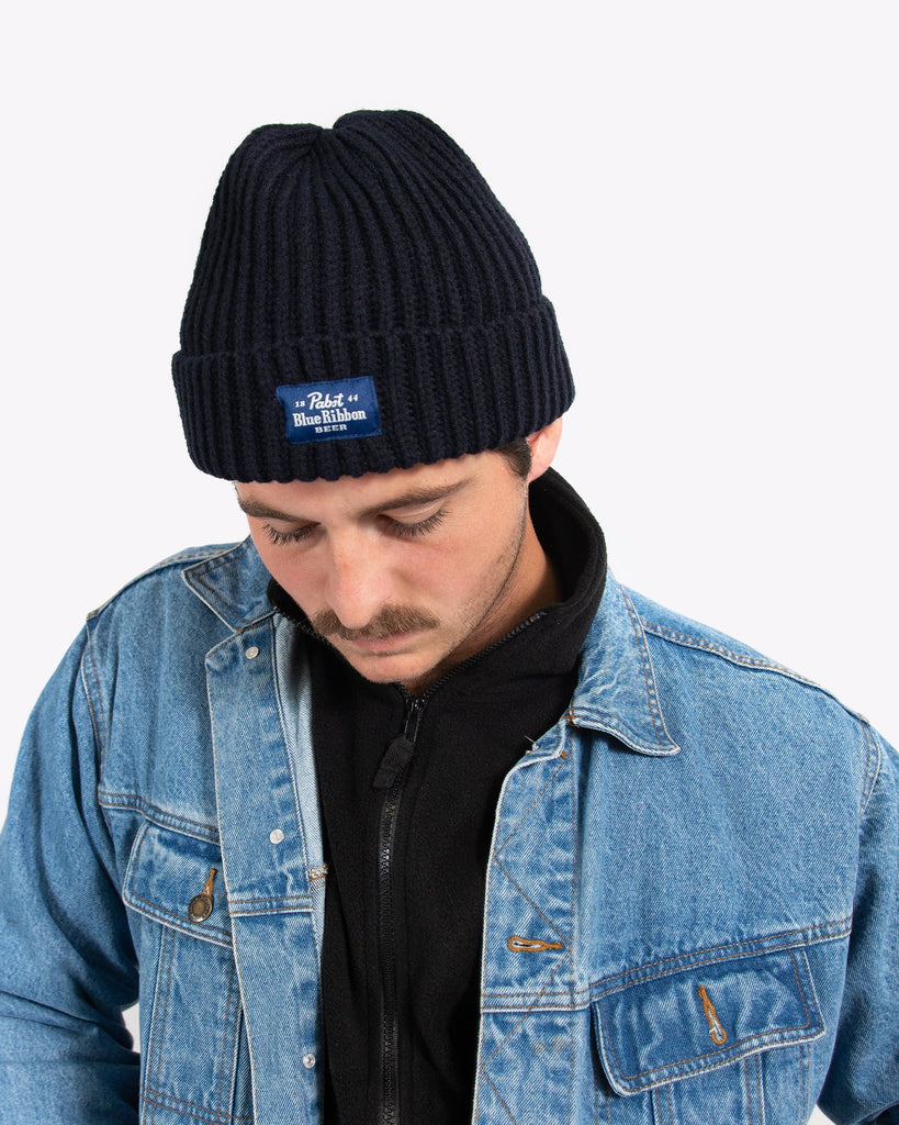 Label Beanie- Navy - Pabst Blue Ribbon Store