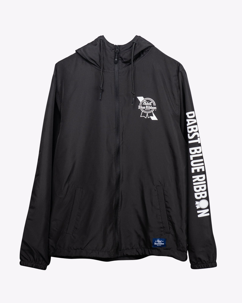 Covered Windbreaker Jacket Black - Pabst Blue Ribbon Store