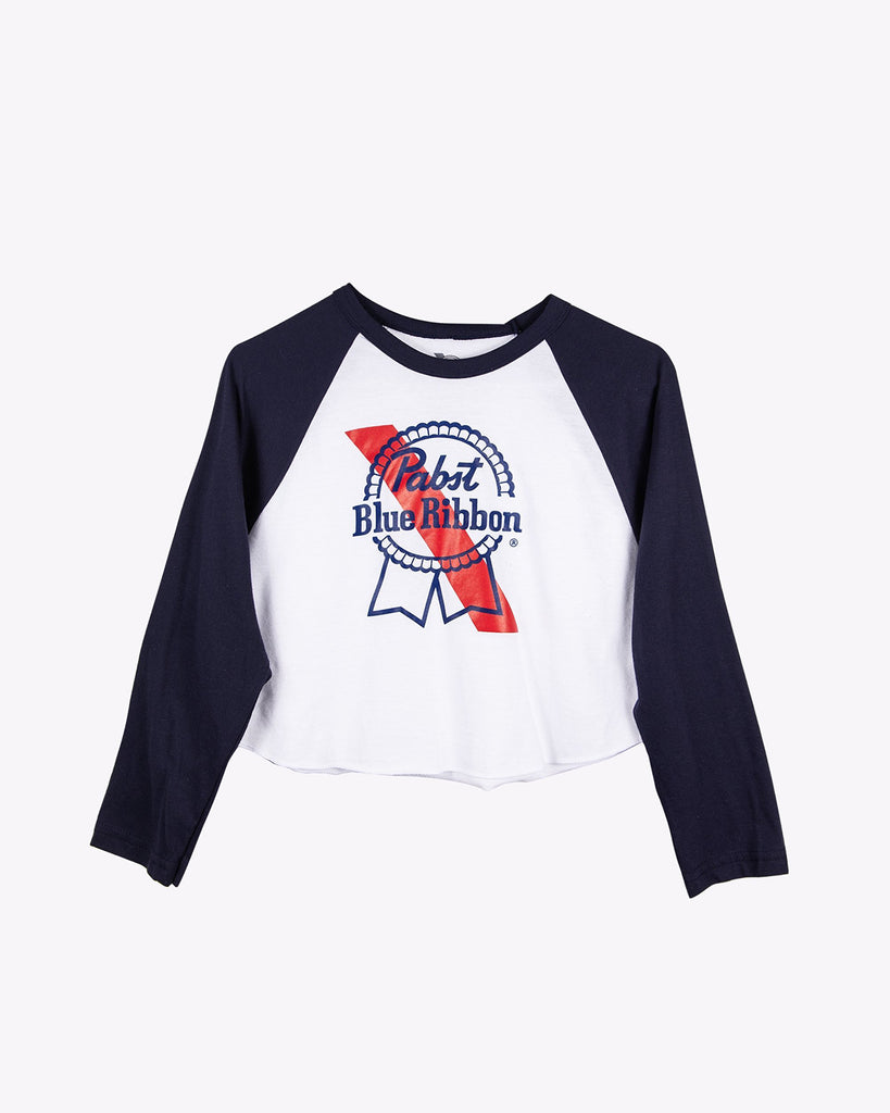 Ribbon 3/4 Raglan Crop-White/Navy