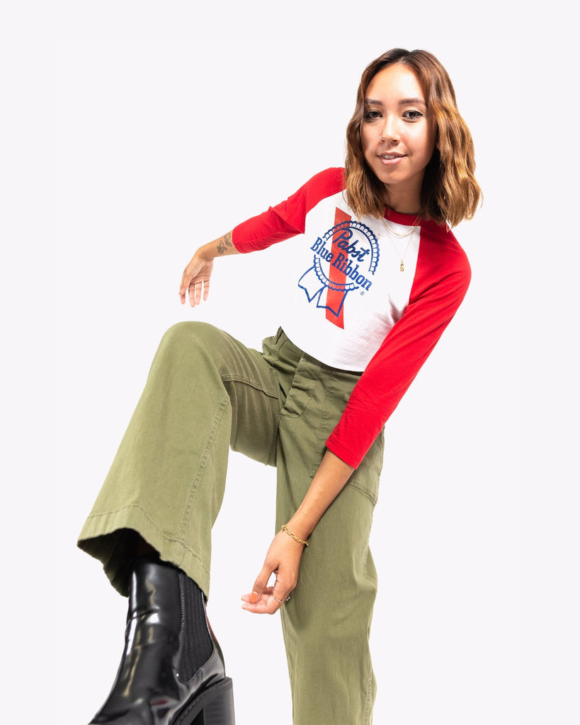 Ribbon 3/4 Raglan Crop-Red/White - Pabst Blue Ribbon Store